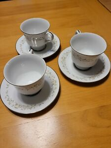 Sango China Debutante 3688 3 Cups & Saucers Platinum Trim Floral Scrolls
