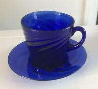 Vintage Handblown Cobalt Blue Glass Demitasse Cup & Saucer
