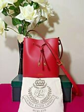 Ralph Lauren Dryden Raspberry Canvas Drawstring Mini Tote bag LEATHER NWT $158