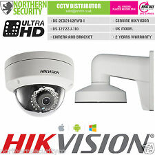 HIKVISION DS-2CD2142FWD-I 4mm 4MP WDR Dome IP Camera & BRACKET DS-1272ZJ-110