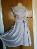 Ladies LINDY BOP Dress Size 14 Silver Satin Fit And Flare 50s Party Evening
