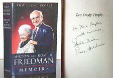 Two Lucky People by Milton Friedman Rose SIGNED Autograph First Edition 1st Book