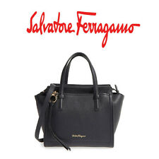 NWT NEW $1250 Salvatore Ferragamo Small Amy Pebbled Leather Tote Bag Black Nero