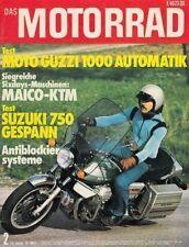 M7602 + Test SUZUKI GT 750 Gespann + MOTO GUZZI 1000 Automatik + MOTORRAD 2/1976