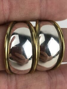 Vintage Laton Mexico Sterling Silver Gold Curved J Hoop Earrings