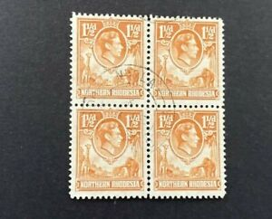 Stamps Northern Rhodesia SG 30 1.5d Yellow Brown Block of 4 GVI Fine Used Used