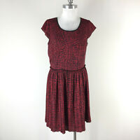 Adrianna Papell L 10 12 Red Black Print dress Cap Sleeve Pleated Fit Flare EUC