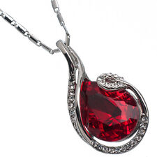 10.16 Ct Pear Cut Style Shape Red Garnet / Ruby CZ 18K White Gold Plated Pendant