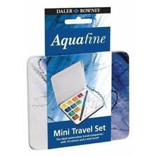 Daler Rowney Aquafine Mini Watercolour Paint Travel Tin 10 Colour Half Pans
