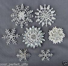 7 Snowflake Rhinestone Buckle Brooch Bouquet Pearl Crystal Wedding Bridal Frozen