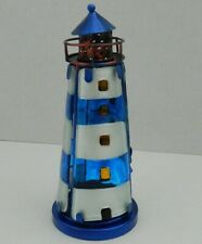 LIGHTHOUSE STAINED GLASS TEALIGHT CANDLE HOLDER NAUTICAL SEASIDE BEACH