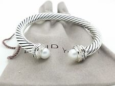 David Yurman Sterling Silver Cable Pearls & Diamond 7mm Crossover Bracelet