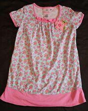Dress Tunic Baby Lulu Erin Murphy Pink Butterfly Floral Aqua Girls sz 6 Ruffle