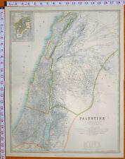1899 LARGE ANTIQUE MAP PALESTINE JERUSALEM SAMARIA JUDEA GALILEE DECAPOLI