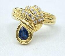 right hand ring 14k yellow Gold .50 ct Natural Diamond & Sapphire