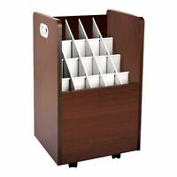 AdirOffice Mahogany Wood Mobile Blueprint Map Poster Roll File 20 Slot Holder