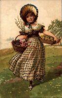 Künstlerkarte Kunst Postkarte ~1930 Mädchen Frau mit Blumenkorb in den Bergen