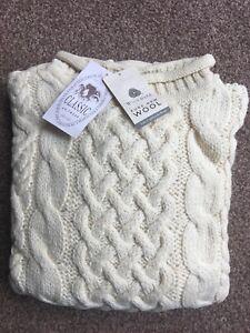 100% British Wool Aran Curl Roll Neck Cream Jumper Chunky Cable Knit fisherman