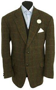 Harris Tweed Jacket Blazer 46R Country Windowpane Check Weave Hacking Green