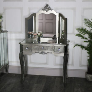 Mirrored console dressing table 3 way triple tabletop vanity mirror French chic