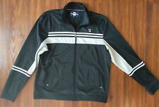 VINTAGE FILA Track Jacket 3XL Black Gray White Polyester Zip Pockets