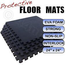20mm BLACK Interlocking Gym Exercise Flooring Floor Mats Tiles 16 Sq Ft 1.4m Sq