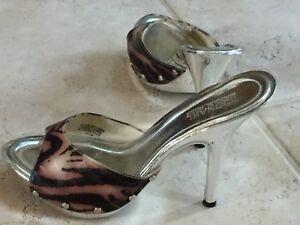 Michael Kors Women's Silver Zebra Shoes Metallic Silver Mule Stiletto Heels 6.5M