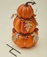 3 Pumpkin Stacked Stake for Fall Thanksgiving or Harvest Time 17.25""