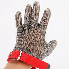 304L Stainless Steel Gloves Red Brushed Mesh Cut Resistant Size M Butcher Glove