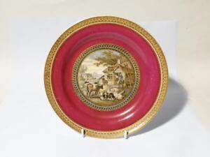 19thC Victorian Red Bull Inn (283) Burgundy Prattware Dinner Plate Pot lid scene