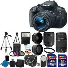 Canon EOS Rebel T5i 700D Body + 4 Lens Kit 18-55 STM +75-300 + 24GB Card Top Kit