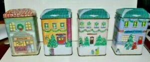 Fabri-Center Tin Christmas Houses w/Scented Candles Set of 4   1995