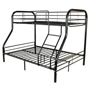Twin over Full Bunk Beds Kids Teens Adult Dorm Bedroom Furniture w/Ladder Black