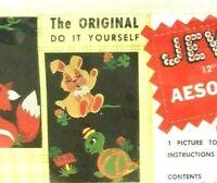 VTG Edna Looney Jeweled Aesop Fables Needle Work Kit The Hare & The Tortoise NIP
