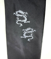 "Dragon Men's Tie Willson Black Novelty 100% Silk 3.25"" Width 60"" Long"