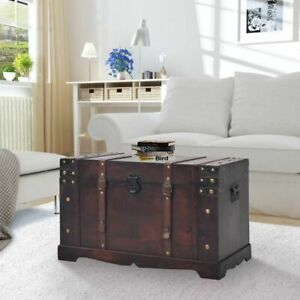 Steamer Trunk Wood Storage Wooden Treasure Chest Coffee Table Large Mocha Decor