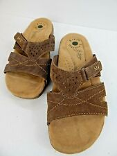 Earth Origins Women's Selby Leather Open Toe Casual Slide Brown Size 8