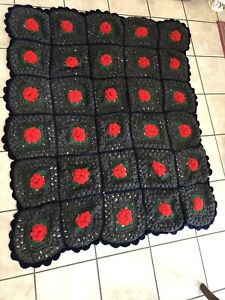 Vintage Handmade Granny Square Crochet Afghan 3D Red Rose's 60x48