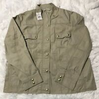 J Crew Womens Size XXL Resin Coated Twill Field Jacket Cement Color NWT AL223