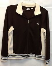 Vintage Mens Puma Large Brown Cream And Blue Full Zip Track Jacket