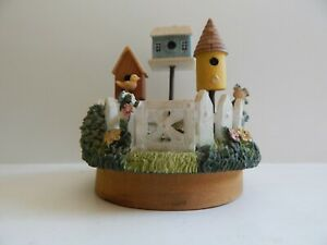 Our America~Candle Topper Birds Birdhouse white picket fence