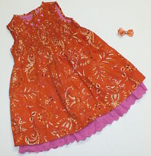 EUC 18 months Trish Scully Child boutique orange pink flower eyelet dress & bow