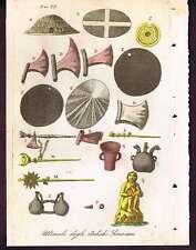 Tools of Ancient Peru - 1831 Antique Print