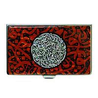 Porte Cartes de Visite Boîte Acier Nacre Coran Orient CALLIGRAPHIE ARABE