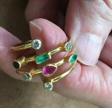 18k Gold Ring set with diamonds, sapphires and emeralds size 9