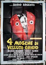 manifesto 4F film 4 QUATTRO MOSCHE DI VELLUTO GRIGIO Dario Argento 1971