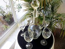 Bohemia Etch Crystal Wine Decanter and 5Matching Clear Wine Glasses