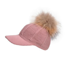 Pink Womens Winter Knit Baseball Cap Pom Pom Cable Crochet Snapback Hat Hip-Hop