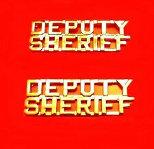 "Deputy Sheriff Collar Pin Device Cut Out Letters Set of 2 Police 1/4"" Gold P2216"