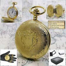 "Gold Color Pocket Watch Quartz Men Roman Numbers with 14"" Curb Link Chain P149"